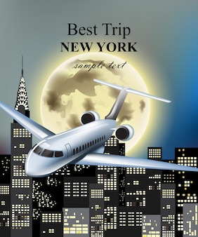 Plane flying over new york city at night vector