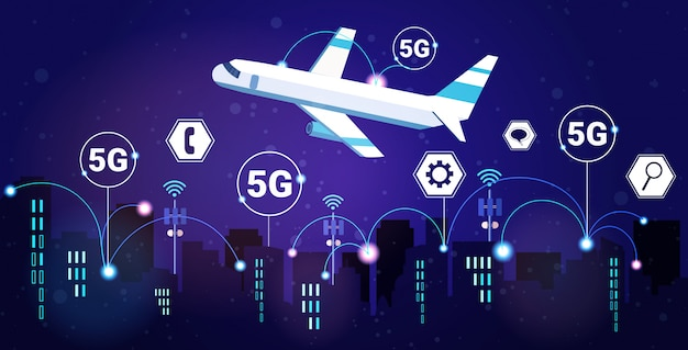 Plane flying over night smart city 5g online communication network wireless systems connection concept fifth innovative generation of high speed internet modern cityscape background horizontal