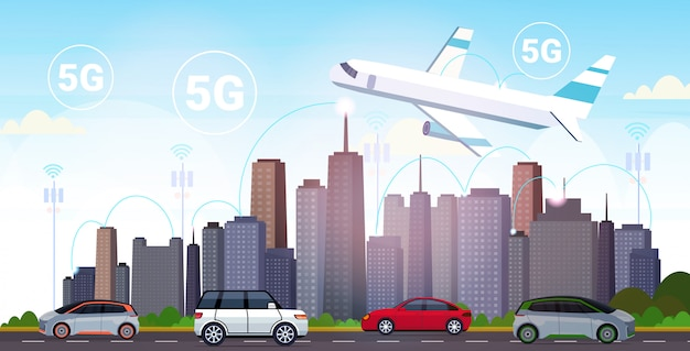 Plane flying over smart city 5g online communication network wireless systems connection concept fifth innovative generation of high speed internet modern cityscape background horizontal