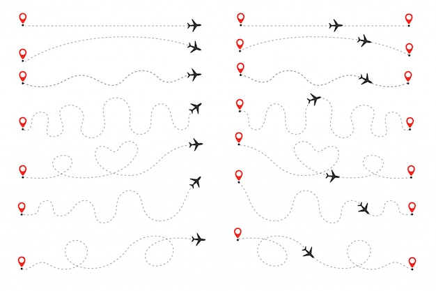 The plane follows the dotted line. flights traveling from the origin to the destination on the world map.
