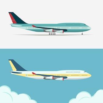 飛行機のイラスト、飛行機のアイコン、空の航空機、雲の上のジェット機、民間航空車両。