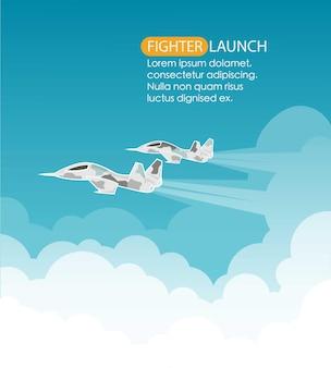 Plane launch. vector illustration