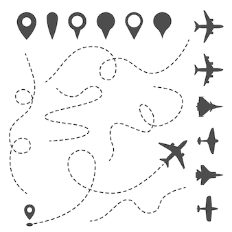 Plane line path. airplane directional pathway, map dotted trail and fly direction.