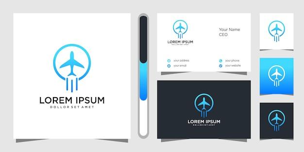 Самолет дизайн логотипа и визитная карточка