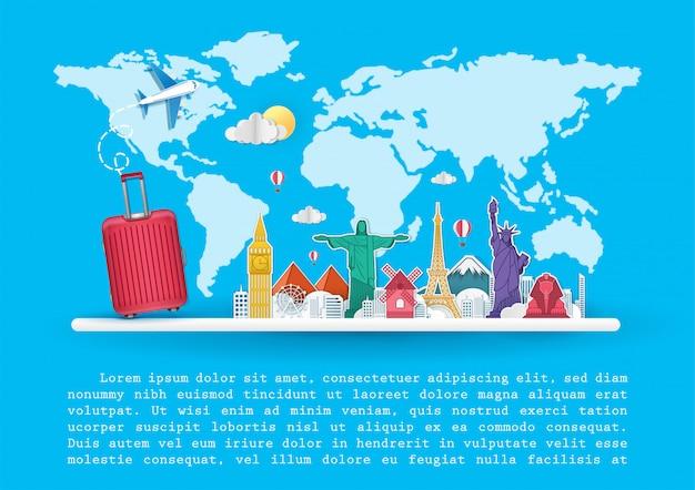 Plane and luggage  top world famous landmark travel