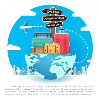 Plane and luggage travel around the world concept.