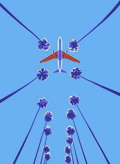 暖かい国のヤシの木の上の飛行機。マイアミ海岸への旅。下から離陸飛行を見る。空港前のアレアパルマ。島の休息の垂直バナー。