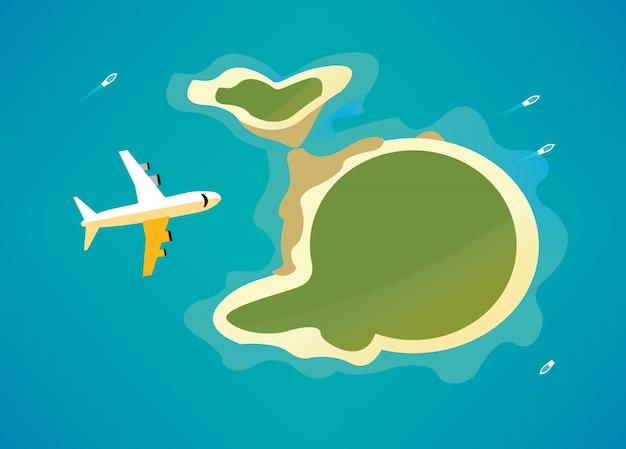 熱帯の島の上の平面。