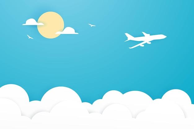 青い空を背景に平面ペーパーアートスタイル
