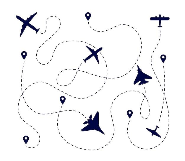 Плоские дорожки. путь самолета, пунктирный путь или дорога. маршрут полета самолета. путь транспортировки перемещения с иллюстрацией вектора булавки назначения. транспорт по траектории полета, путь по трассе самолетов, самолет