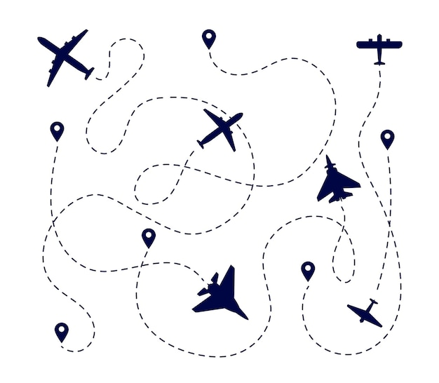 Plane paths. aircraft way, dotted path or road. airplane fly route. travel transportation pathway with destination pin vector illustration. flight path transport, way track aircraft, airplane