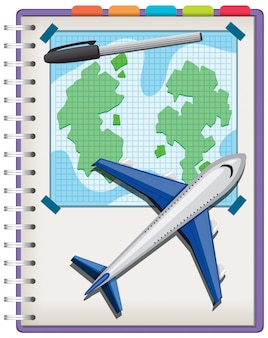 Plane and pen on notebook isolated on white background