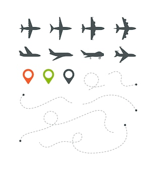 Plane route. flight directionally striped lines sky trace for travel symbols set. illustration trip flight and travel, aircraft transport
