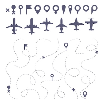 Plane route line. planes dotted line trail directions, flight pathway direction map builder and airplane icons set