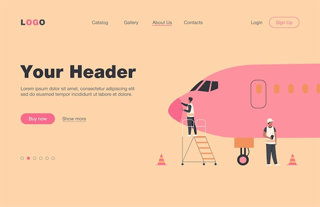 Plane service isolated flat  landing page. cartoon mechanics repairing airplane before flight or adding fuel. aircraft maintenance and aviation concept