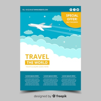 Plane in the sky travel flyer