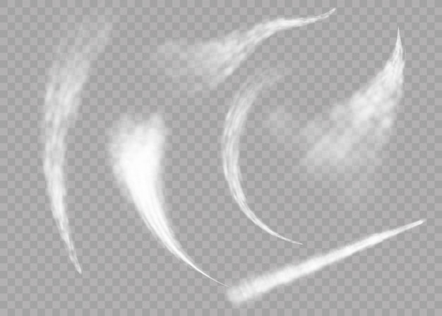 Plane smoke rocket stream effect airplane jet cloud flight speed burst. aircraft smoke isolated on transparent background. realistic airplane condensation trails.