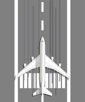 Самолет стоит на взлетно-посадочной полосе Premium векторы