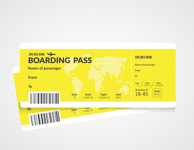 Plane ticket, airline boarding pass template.