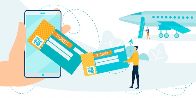Plane ticket application on mobile phone metaphor