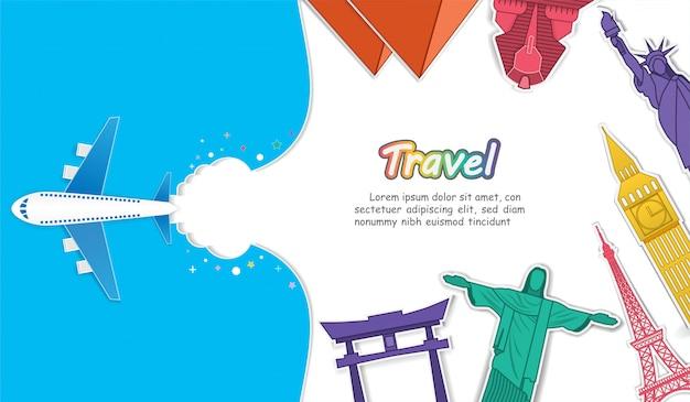 Plane and top world famous landmark travel