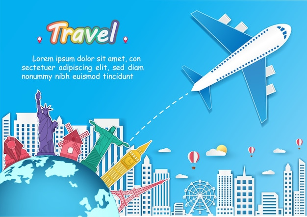 Plane and top world famous landmark