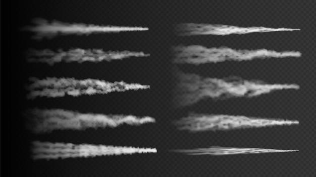 飛行機のトラック。透明な背景に分離されたロケット、飛行機の蒸気トレイル。リアルな白煙ベクトル効果。飛行機の飛行経路、ライン航空効果の図