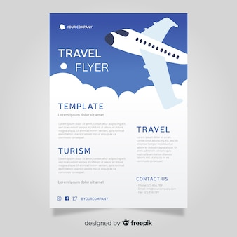 Plane travel poster template