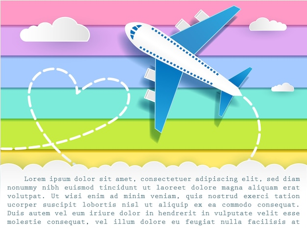 Plane for travel template rainbow background card greeting