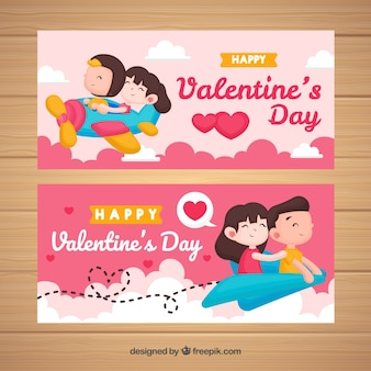Plane valentine banner