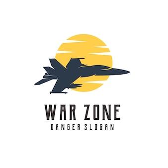 飛行機の戦争のロゴのシルエットヴィンテージ