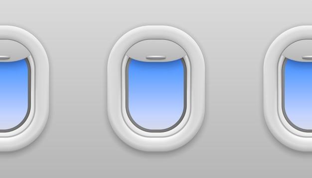 平面ウィンドウ。青い空の景色を望む飛行機の窓、飛行中の飛行機の開いた舷窓、旅行と観光、内部のシームレスなベクトルテクスチャ