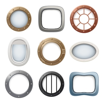 Plane window. ship boat round glass portholes aircraft interior  realistic 3d collection