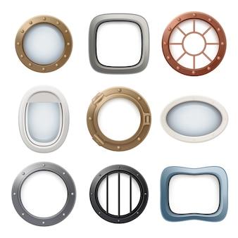 Плоское окно. корабль катер круглые стеклянные иллюминаторы самолета интерьер реалистичная 3d коллекция