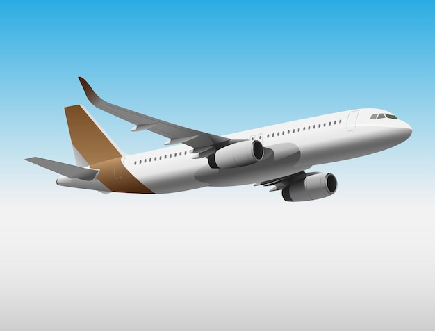 A plane with a brown tail is flying under the white sky