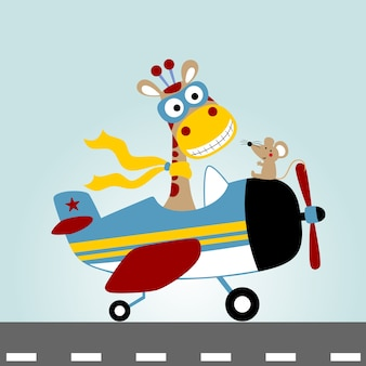 Plane with funny pilot, vector cartoon