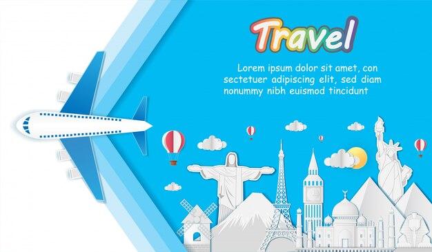 Plane world famous landmark travel around the world.