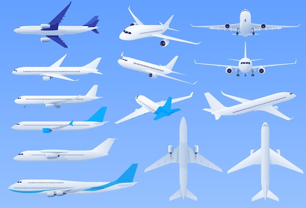 Planes on a blue background in different angles