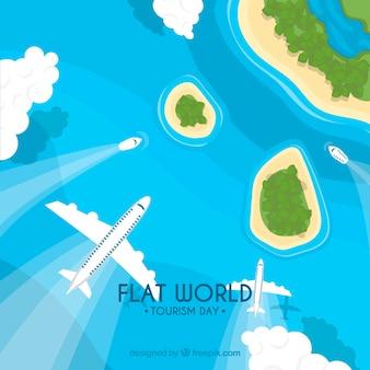 Самолеты, лодки и остров с плоским дизайном