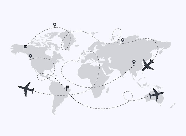Planes path with location pins illustration