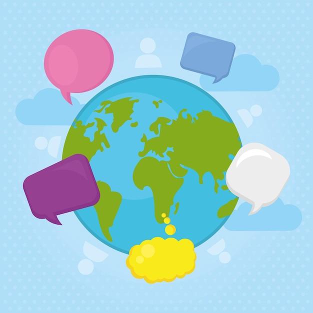 Планета и пузыри речи