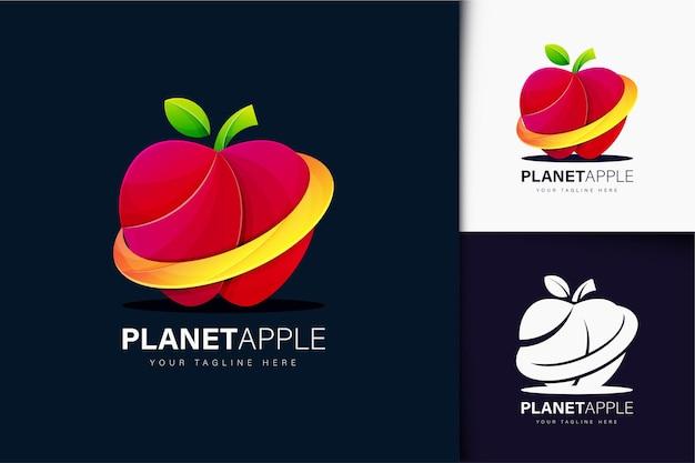 Планета яблоко дизайн логотипа с градиентом