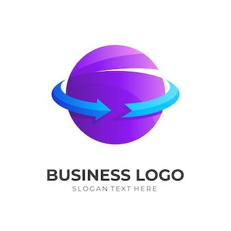 惑星の矢のロゴ、惑星と矢、3d紫と青のカラースタイルの組み合わせロゴ