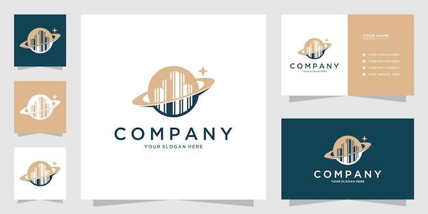 惑星の建物のエレガントなロゴのコンセプトと名刺のデザイン