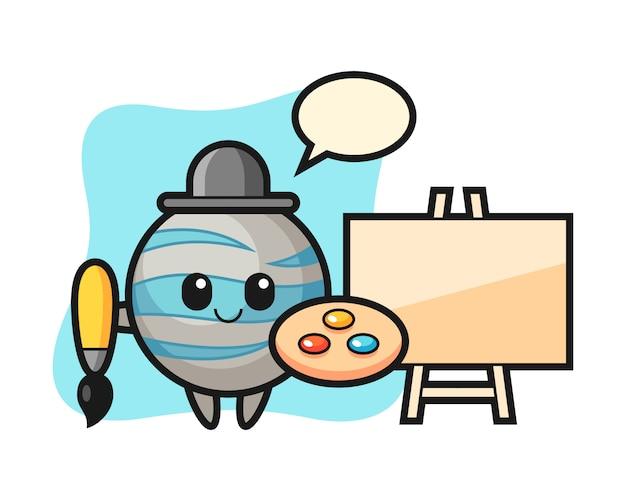Planet cartoon as a painter