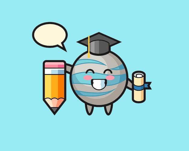 巨大な鉛筆で惑星漫画卒業