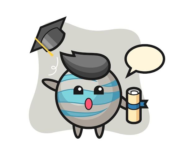 卒業式で帽子を投げる惑星漫画