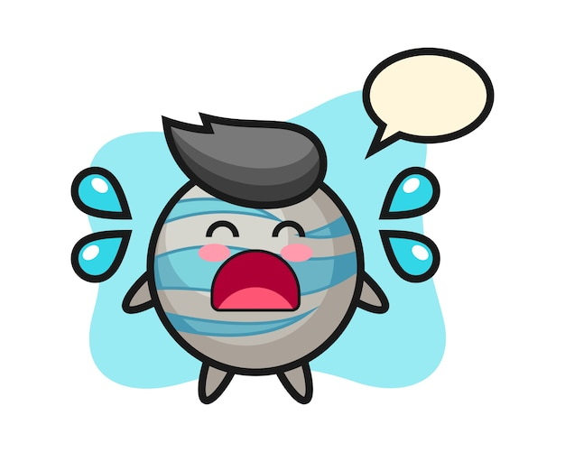 Planet cartoon with crying gesture