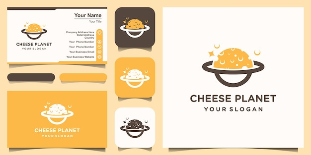 Planet cheese logo design template. set of logo and business card design