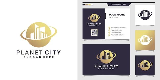 Planet city logo and business card design. premium vector